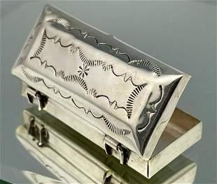 Navajo Sterling Silver Trinket Or Pill Box, 13.1g