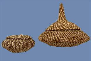 2 Native American Pine Needle Baskets