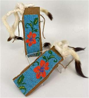 Native American Beaded Cuffs With White Tail Weasel
