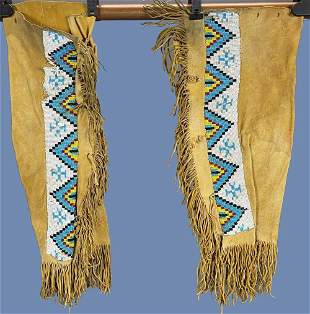 1950s Loom Beaded Buckskin Leggings