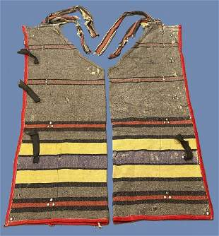 Native American trade cloth leggings or chaps With