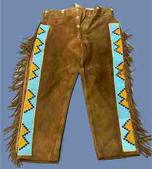 Plateau, Native American Suede Leather Beaded Pants