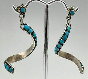 Native American Sterling Silver and Turquoise Swirl