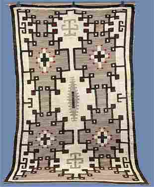 1920's Ganado Rug With Two Grey Hills Design