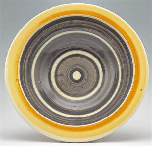 Peter Shire Expo 97 Bowl in colors of yellow, orange,