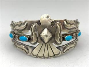 Navajo Thunderbird Sterling Silver Cuff with 4 Bezel