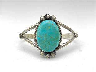 Navajo Sterling Silver Cuff with Large Turquoise Center