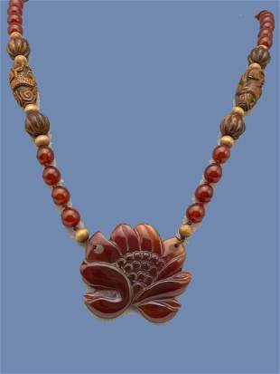 Chinese Necklace of Carnelian Beads, Carved Carnelian