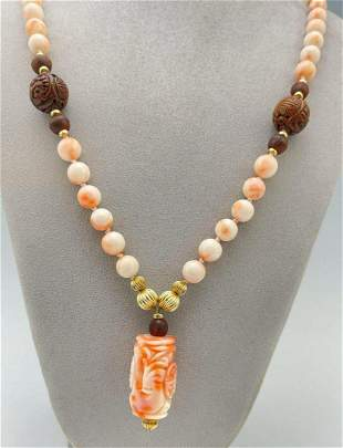 Chinese Angel Skin Coral Beaded Necklace with Carved