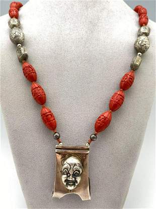 Chinese Cinnabar Bead Necklace with Silver Buddha Clip