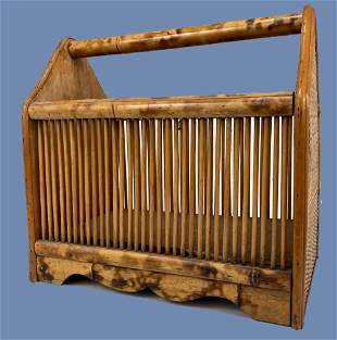 Tiger Bamboo and Rattan Canterbury or Magazine Holder