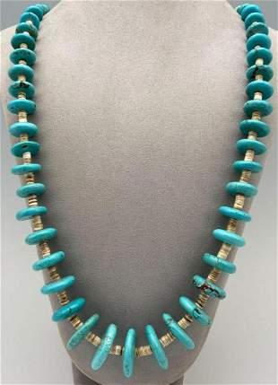 Navajo Rondelle Turquoise & Heishi Bead Necklace