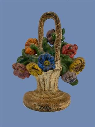 Antique Painted Cast Iron Flower Basket Doorstop