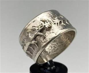 Navajo Cast Silver Ring With Corn Stalk Design