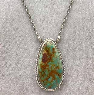 Navajo Sterling Silver Hubei Turquoise Pendant with