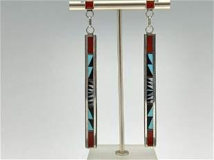 Zuni Sterling Silver Drop Earrings 10.8 g
