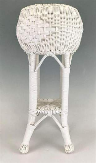 Vintage White Wicker Plant Stand
