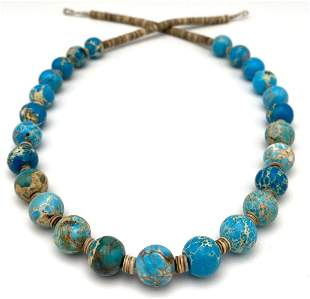 Navajo Turquoise & Heishi Bead Necklace With Silver