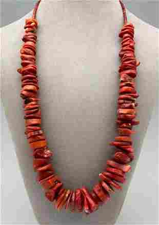 Navajo Bamboo Coral Necklace. 141.8 g