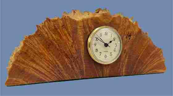 Mid Century Modern Live Edge Wood Burl Clock