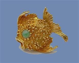 14k Gold & Jade Puffer Fish Pin