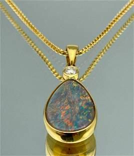 18k Diamond Opal Pendant With Chain