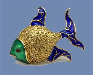 14k Gold Enamel Fish Pin