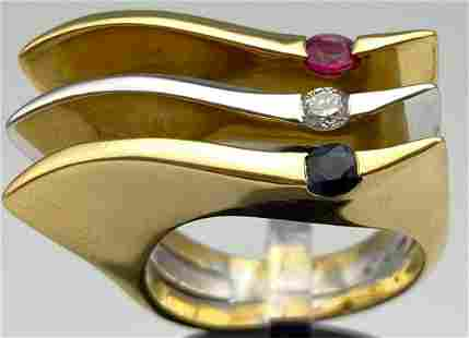 18k Yellow & white gold ruby, sapphire and Diamond ring