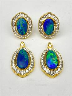 18k Australian Double Drop Boulder Opal And Diamond