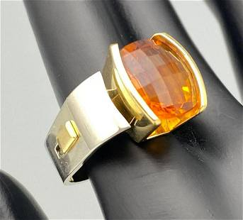18k yellow and white gold ring with 5.78 carats citrine