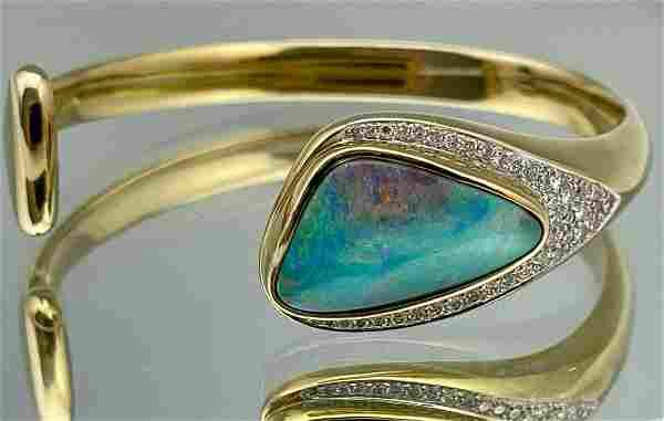 18k Yellow Gold 12.17ct. Boulder Opal Y Diamond Bangle