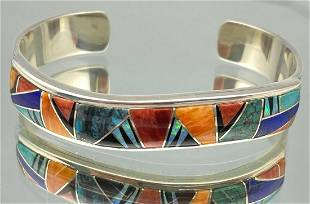 Navajo Sterling Silver Cuff with Inlaid Opal,