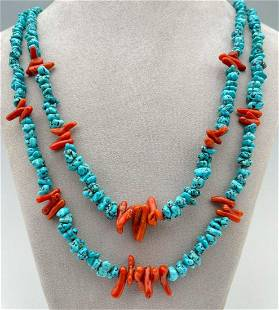 Navajo Turquoise Nugget And Branch Coral Necklace