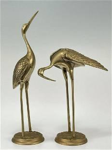 Vintage Brass Chinese Bird Sculptures