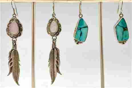2 Pairs Native American Sterling Silver Turquoise And