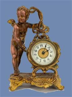 Antique Bronze Cherub Clock