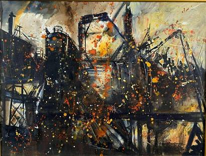 Rubi Roth Industrial Brutalist Mixed Media Painting