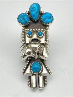 Navajo Sterling Silver Kachina Ring with Bezel Set