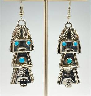 Navajo Sterling Silver Kachina Earrings with Bezel Set