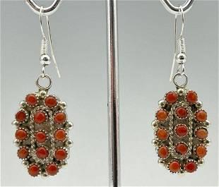Zuni Sterling Silver Snake Eyes Set Coral Earrings