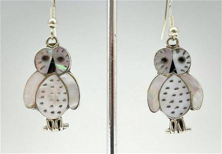 Zuni Sterling Silver and Mother of Pearl Owl Earrings