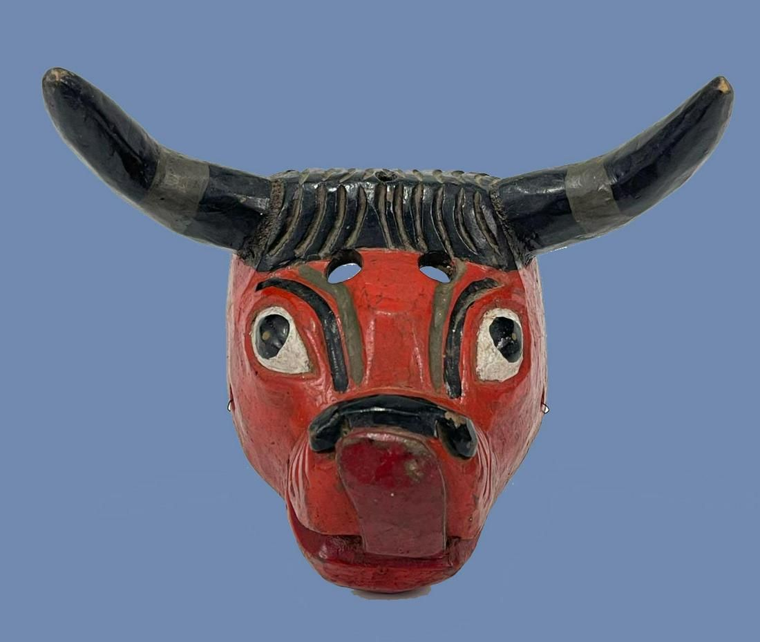 Vintage Mexican Carved Happy Bull Mask