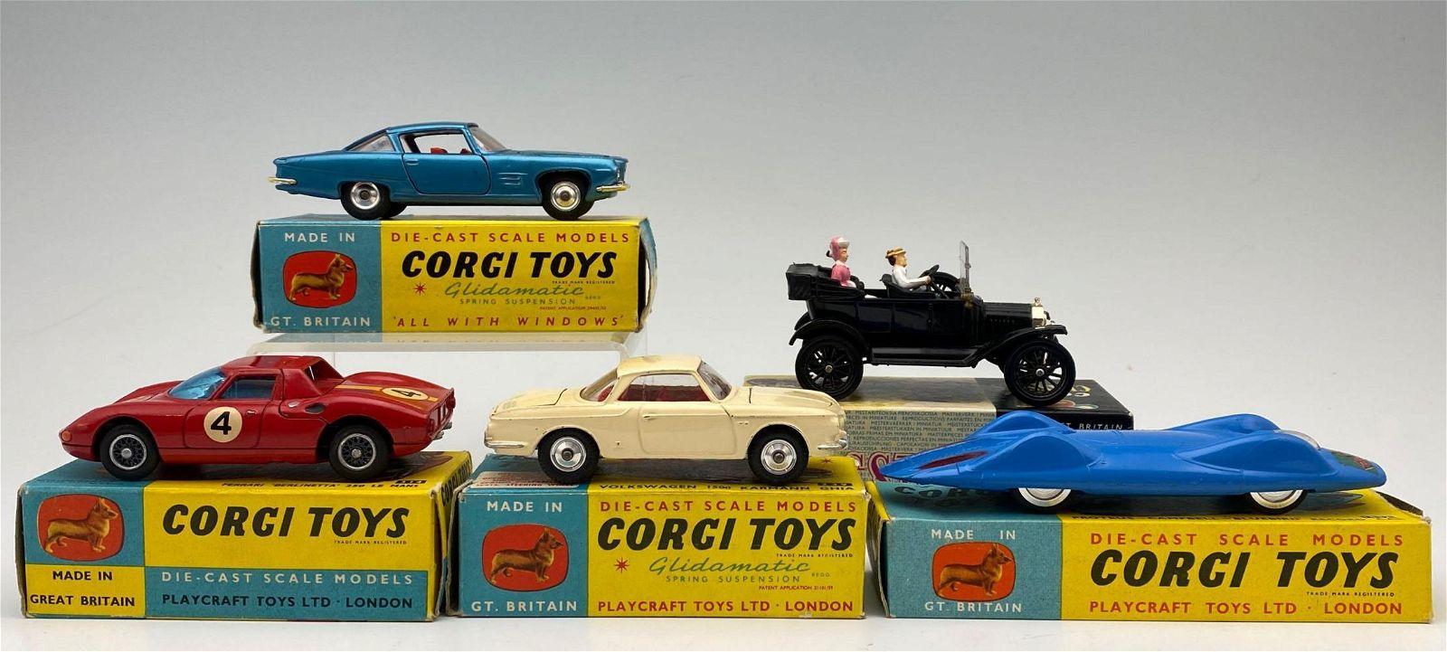 5 Corgi Diecast Cars With Boxes