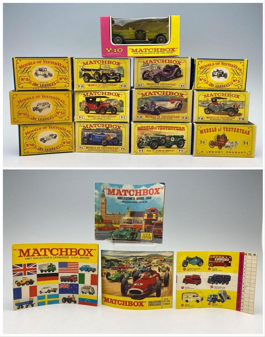 13 Matchbox Cars and 4 Matchbox Catalogs