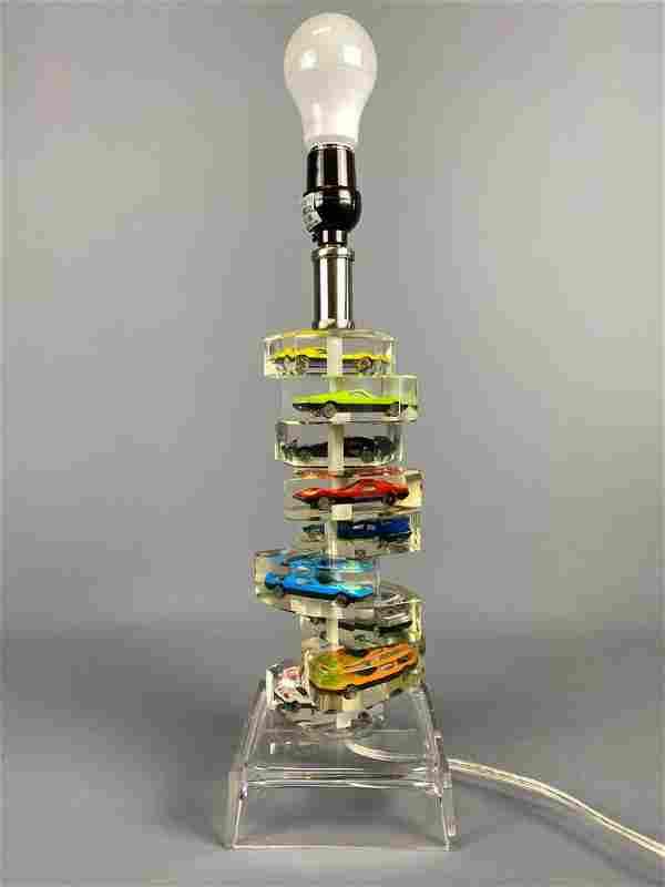 Vintage Hot Wheels Acrylic Lamp