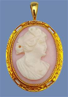 10K Gold Hand Carved Cameo Pendant