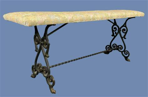 Wrought Iron Upholstered Bench