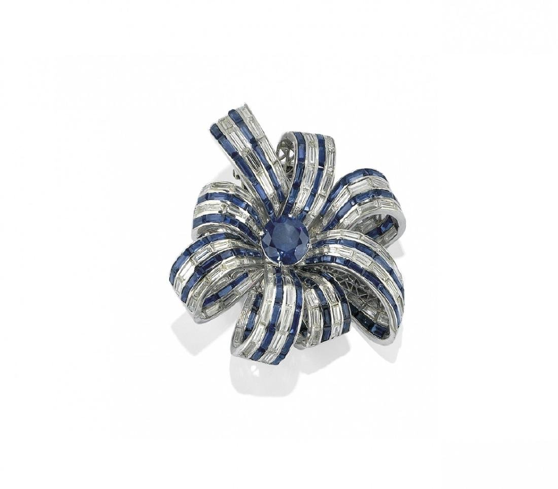 BLUE SAPPHIRE AND DIAMOND BROOCH, HARRY WINSTON