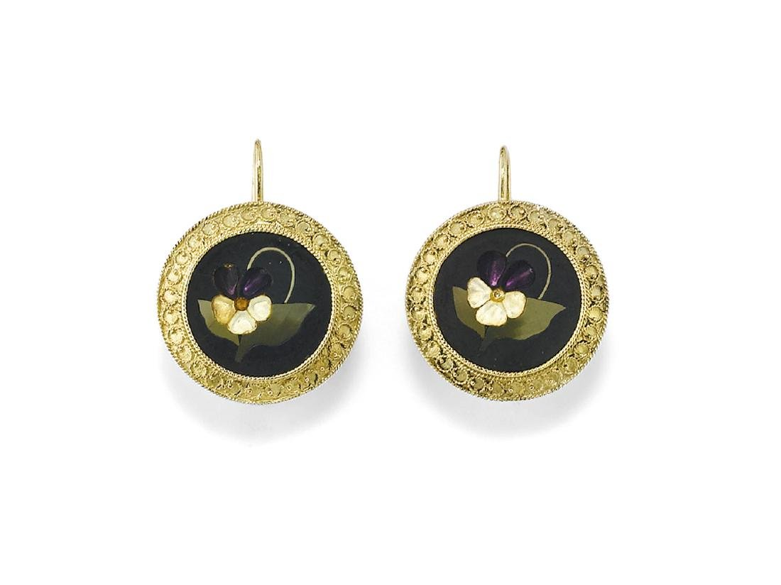 ANTIQUE PAIR OF GOLD AND  FLORENTINE MOSAIC EARRINGS