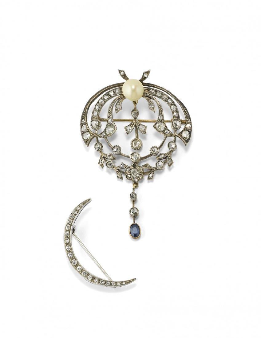 TWO GOLD, SILVER AND GEM-SET BROOCHES
